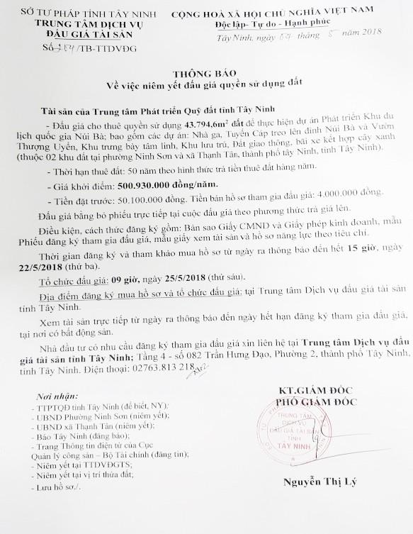Đấu giá cho thuê quyền sử dụng đất để thực hiện DA phát triển Khu du lịch Núi Bà tại TP.Tây Ninh, Tây Ninh - ảnh 1
