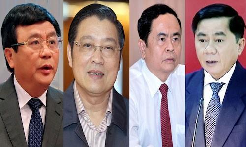 Từ trái qua: Các Ủy viên Ban bí thư được bầu bổ sung tháng 10/2017 và tháng 5/2018, gồm các ông: Nguyễn Xuân Thắng, Phan Đình Trạc; Trần Thanh Mẫn, Trần Cẩm Tú.