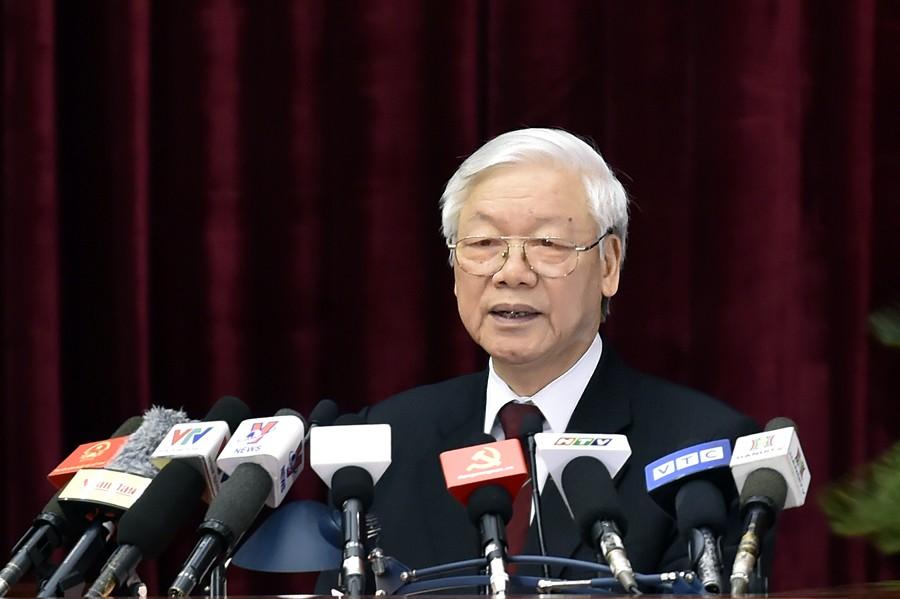 Tổng Bí thư Nguyễn Phú Trọng phát biểu bế mạc Hội nghị Trung ương 7. Ảnh: VGP