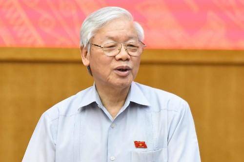 Tổng bí thư Nguyễn Phú Trọng trong cuộc tiếp xúc cử tri ngày 13/5.