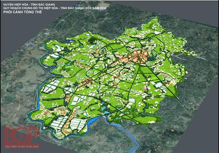 Phối cảnh tổng thể quy hoạch chung đô thị Hiệp Hòa đến năm 2035 - Ảnh: Cổng TTĐT tỉnh Bắc Giang