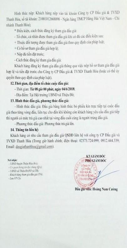 Đấu giá quyền sử dụng đất tại huyện Thiệu Hóa, Thanh Hóa - ảnh 2