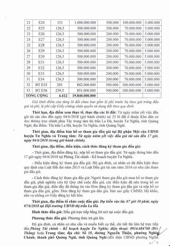 Đấu giá quyền sử dụng đất tại huyện Tư Nghĩa, Quảng Ngãi - ảnh 2