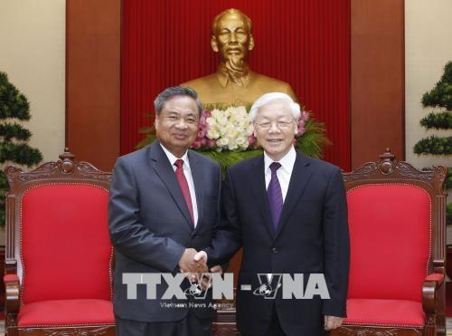 Tổng Bí thư Nguyễn Phú Trọng tiếp đồng chí  Chanxi Phoxikham, Trưởng Ban Tổ chức Trung ương Đảng Nhân dân Cách mạng Lào.