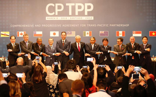 Đại diện các nước tham gia ký kết CPTPP tại Chile ngày 8/3. Ảnh: Reuters
