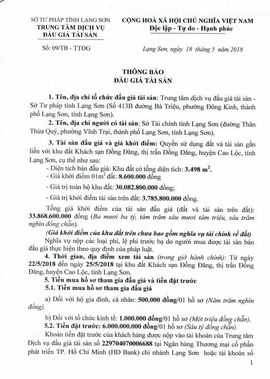 Đấu giá quyền sử dụng đất và TSGLVĐ tại thành phố Lạng Sơn, Lạng Sơn - ảnh 1