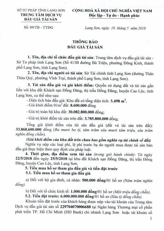 Đấu giá quyền sử dụng đất và TSKGLVĐ tại huyện Cao Lộc, Lạng Sơn - ảnh 1