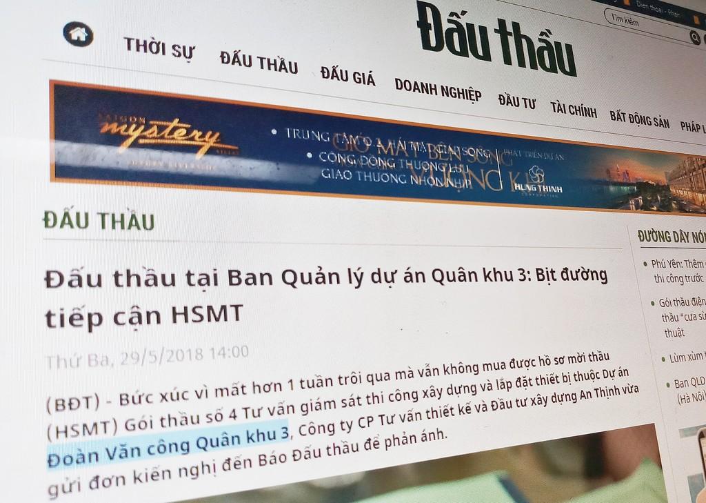 Công ty An Thịnh đã mua được HSMT của Gói thầu Tư vấn giám sát thi công XD và lắp đặt thiết bị thuộc DA Đoàn Văn công Quân khu 3. Ảnh: Tường Lâm
