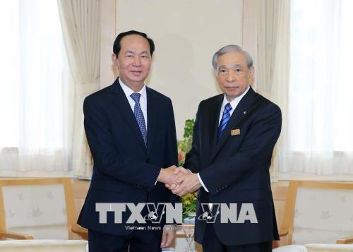 Chủ tịch nước Trần Đại Quang tiếp ông Masaaki Osawa, Thống đốc tỉnh Gunma. Ảnh: Nhan Sáng/TTXVN