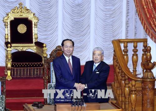 Chủ tịch nước Trần Đại Quang hội kiến Chủ tịch Thượng viện Nhật Bản. Ảnh: TTXVN