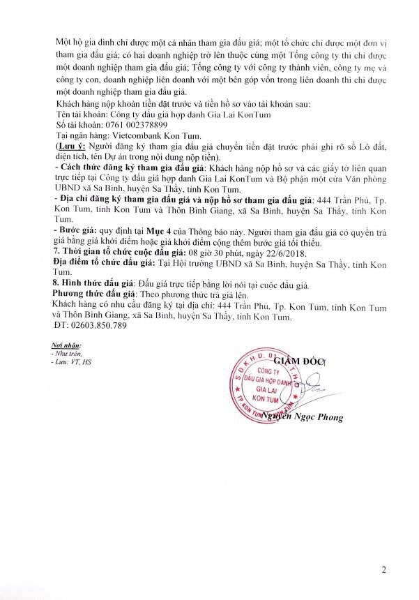 Đấu giá quyền sử dụng đất và tài sản gắn liền với đất tại huyện Sa Thầy, Kon Tum - ảnh 2