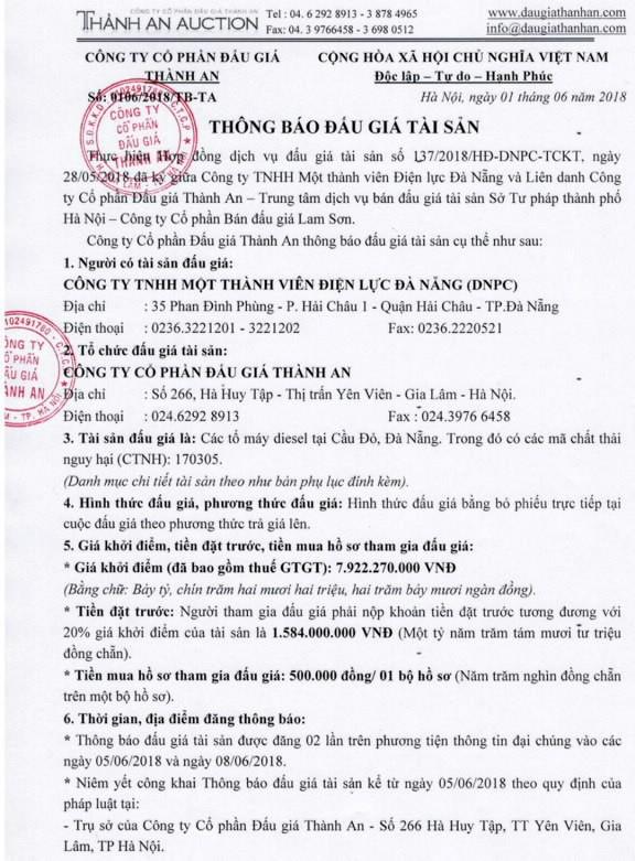 Đấu giá các tổ máy diesel tại Đà Nẵng - ảnh 1