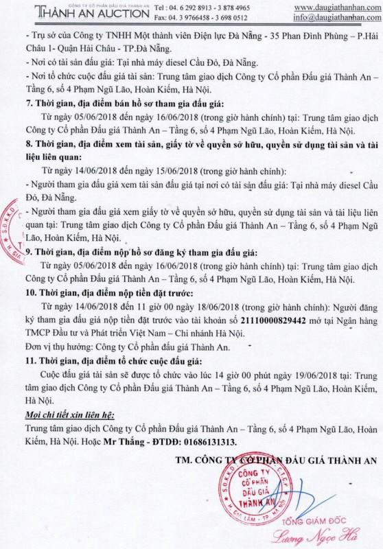 Đấu giá các tổ máy diesel tại Đà Nẵng - ảnh 2