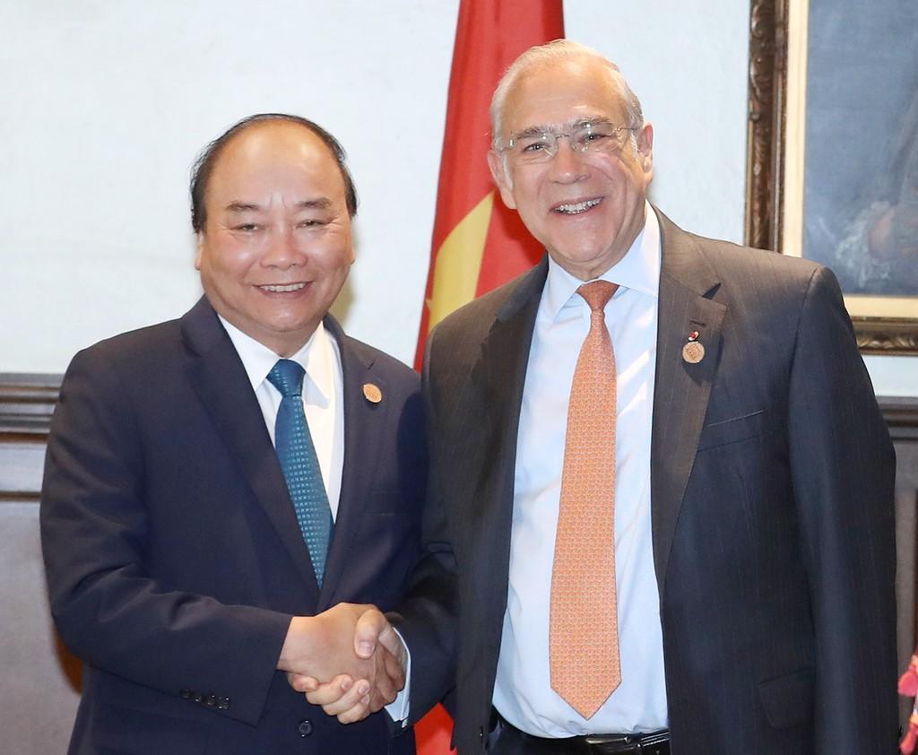 Thủ tướng Nguyễn Xuân Phúc và Tổng Thư ký Tổ chức hợp tác Kinh tế Phát triển (OECD). Ảnh VGP