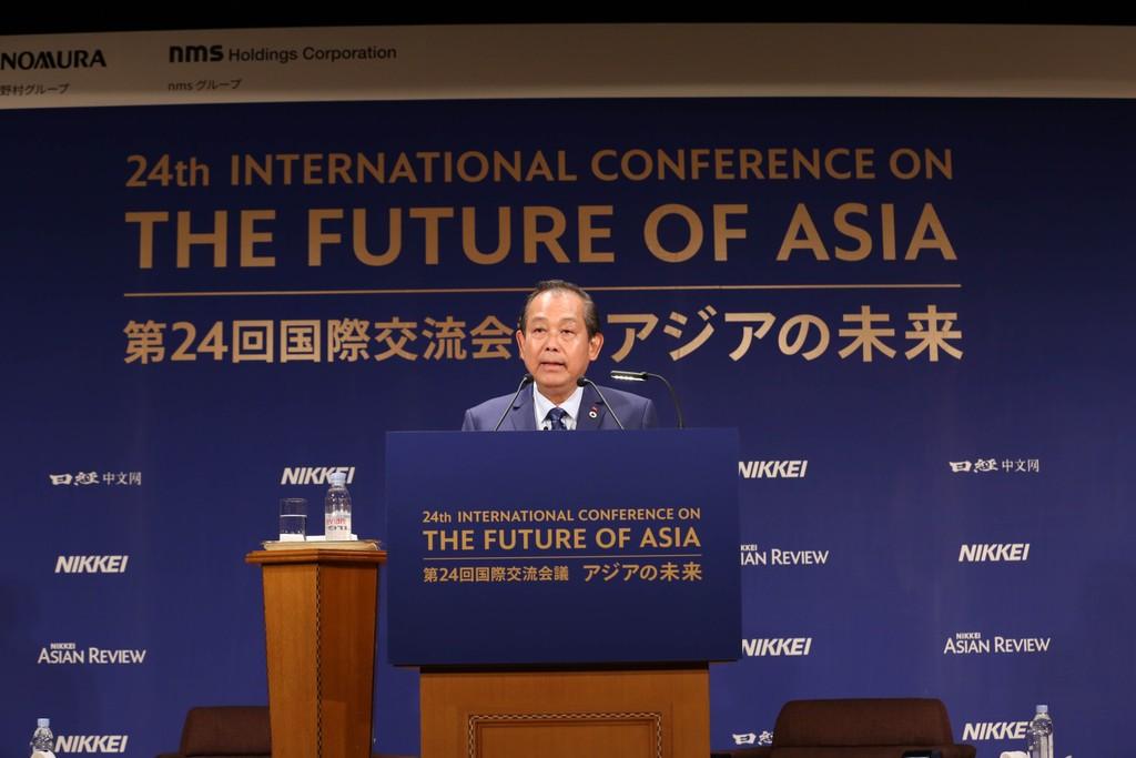 Phó Thủ tướng Thường trực Chính phủ Trương Hoà Bình phát biểu tại Hội nghị Tương lai châu Á. Ảnh: VGP