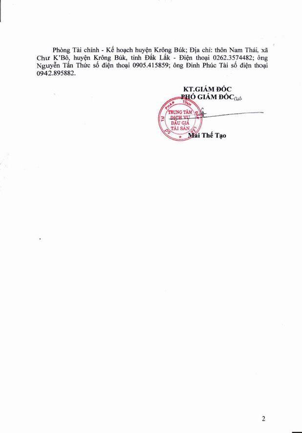 Đấu giá quyền sử dụng đất tại huyện Krông Búk, Đắk Lắk - ảnh 2