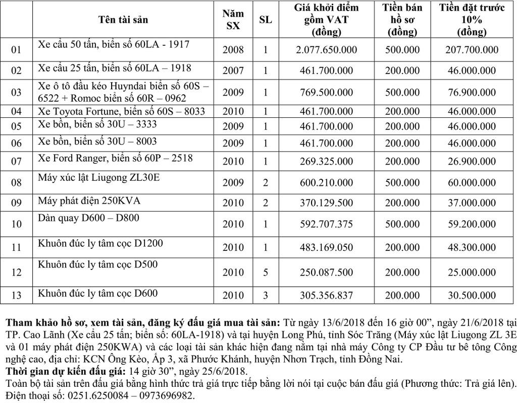 Đấu giá xe ô tô, xe thi công, máy móc thiết bị tại Đồng Nai - ảnh 1