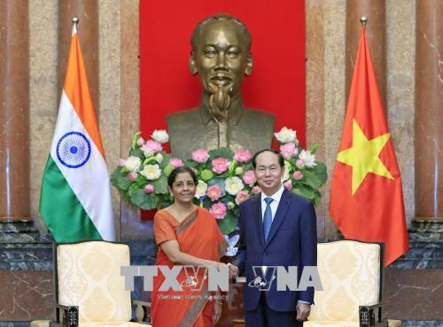 Chủ tịch nước Trần Đại Quang cùng Bộ trưởng Bộ Quốc phòng Cộng hòa Ấn Độ. Ảnh: TTXVN
