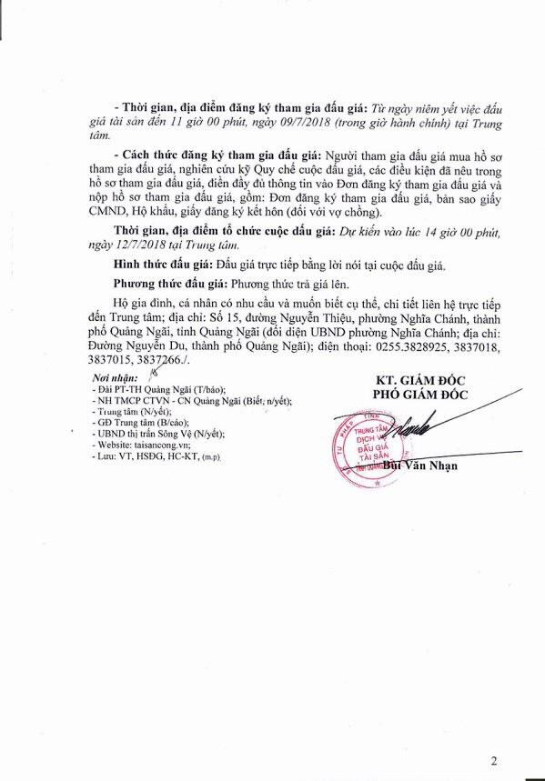 Đấu giá quyền sử dụng đất, quyền sở hữu nhà và TSGLVĐ tại huyện Tư Nghĩa, Quảng Ngãi - ảnh 2