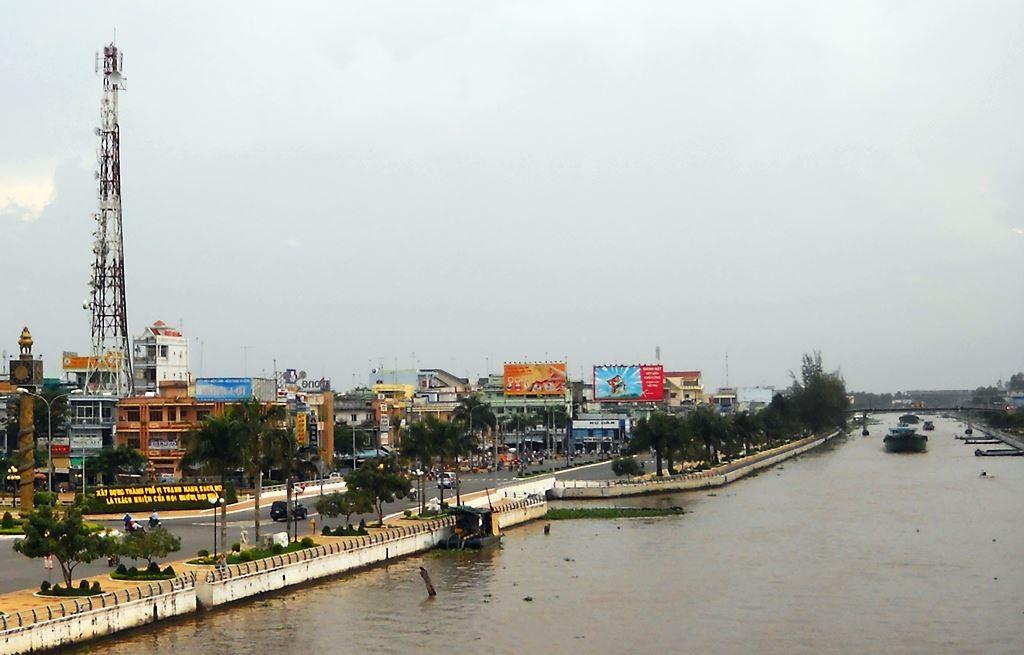 Một góc thành phố Vị Thanh, tỉnh Hậu Giang.   Ảnh Internet