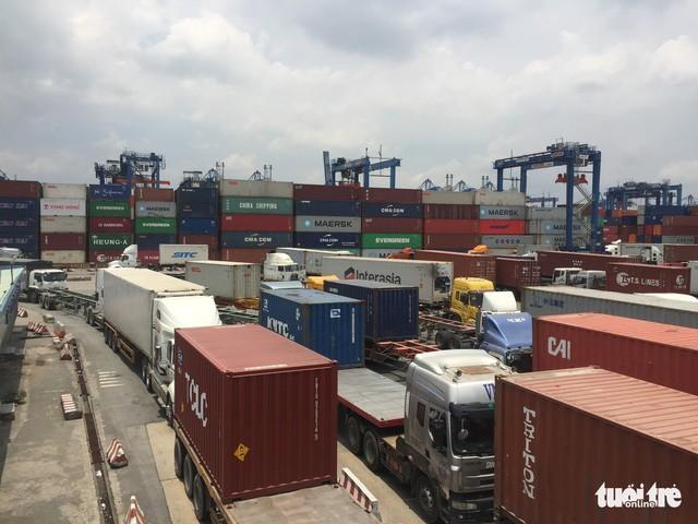 Một số lượng lớn container vô chủ đang tồn đọng tại cảng Cát Lái