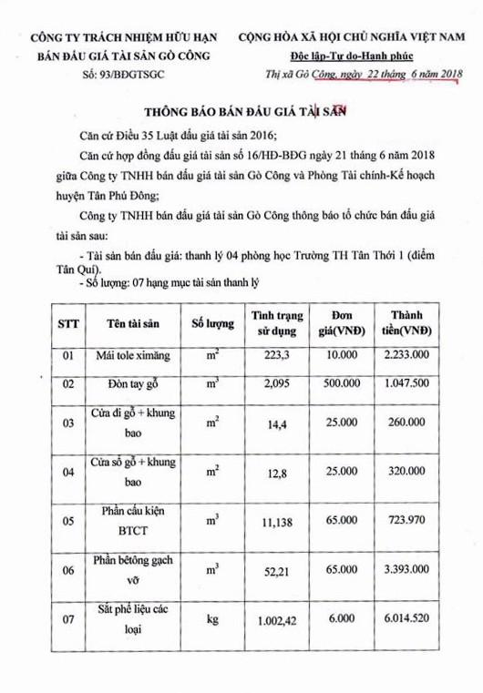 Đấu giá phòng học Trường TH Tân Thới 1 (Tiền Giang) - ảnh 1