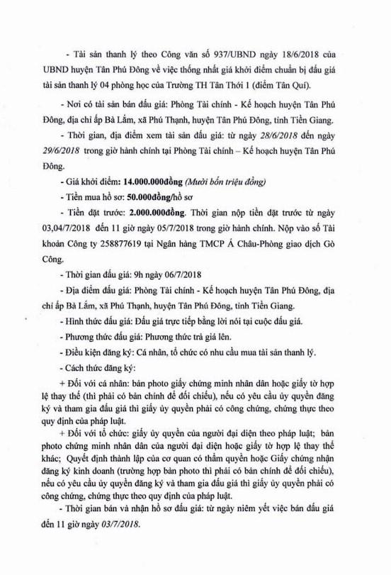 Đấu giá phòng học Trường TH Tân Thới 1 (Tiền Giang) - ảnh 2