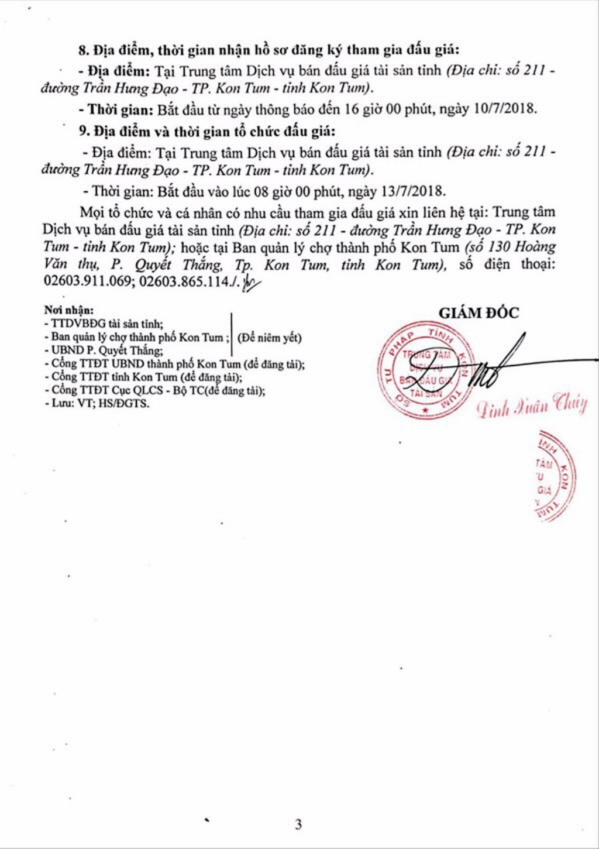 Đấu giá quyền thuê diện tích bán hàng tại Chợ tạm thành phố Kon Tum - ảnh 3