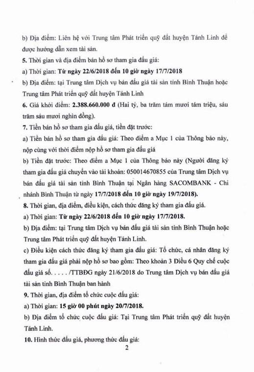 Đấu giá quyền sử dụng đất tại huyện Tánh Linh, Bình Thuận - ảnh 2