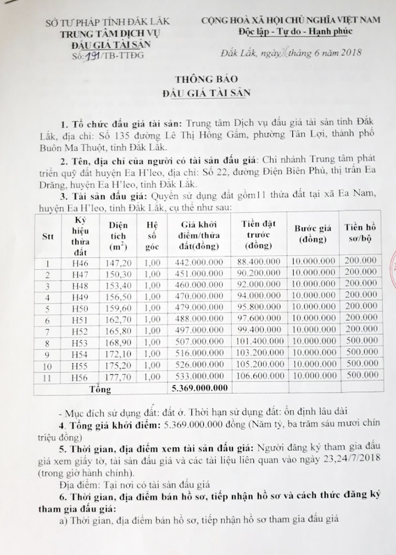 Đấu giá quyền sử dụng đất tại huyện Ea H'leo, Đắk Lắk - ảnh 1