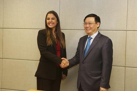 Phó Thủ tướng Vương Đình Huệ tiếp đại diện Hiệp hội Công nghiệp thủy sản Brazil - Ảnh: VGP