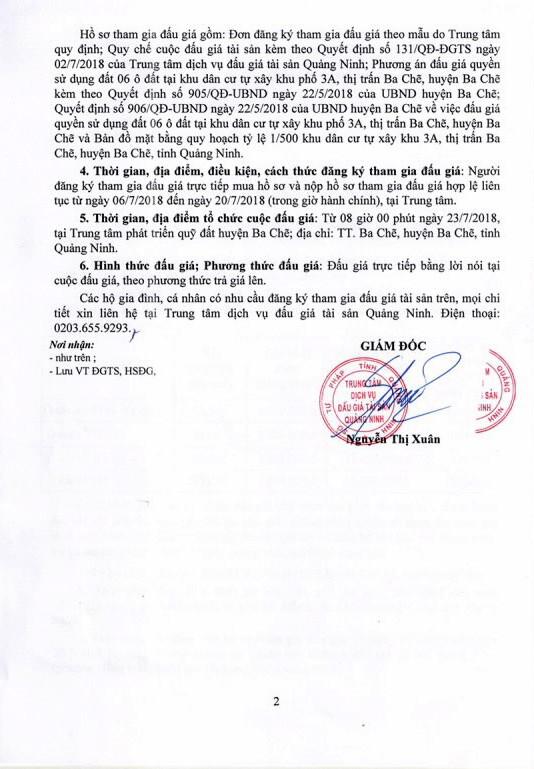 Đấu giá quyền sử dụng đất tại huyện Ba Chẽ, Quảng Ninh - ảnh 2