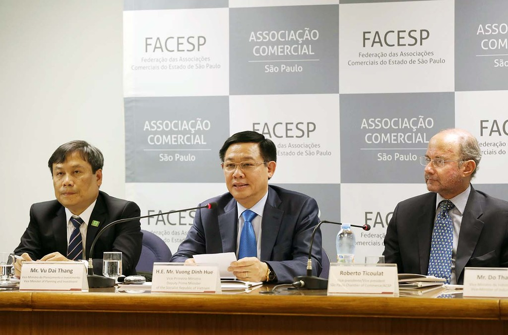 Phó Thủ tướng Vương Đình Huệ dự Diễn đàn Thương mại-Đầu tư Việt Nam-Brazil. Ảnh: VGP