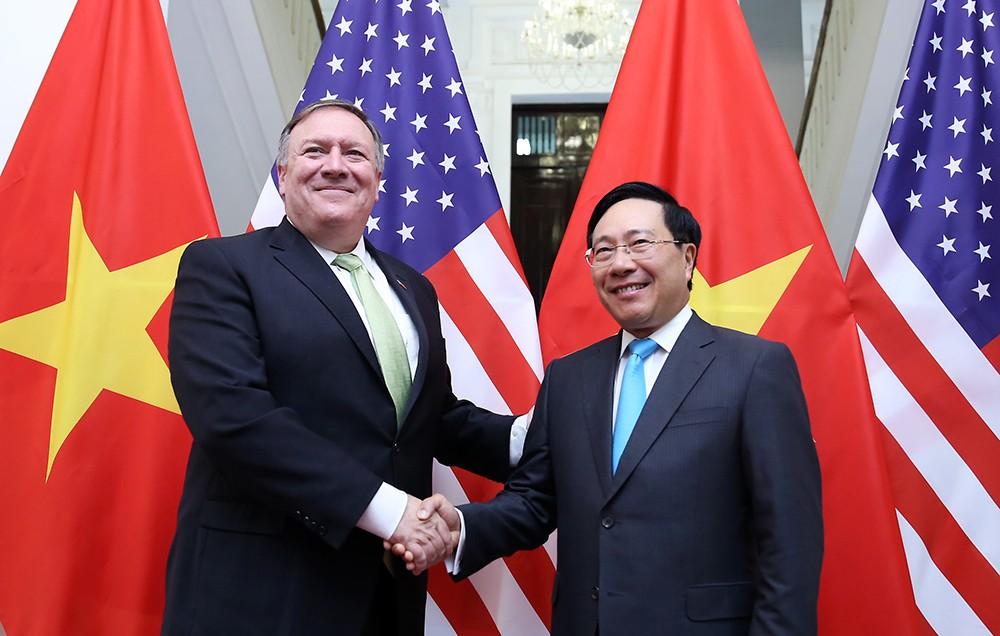 Phó Thủ tướng, Bộ trưởng Bộ Ngoại giao Phạm Bình Minh và Ngoại trưởng Hoa Kỳ Michael Pompeo - Ảnh: VGP