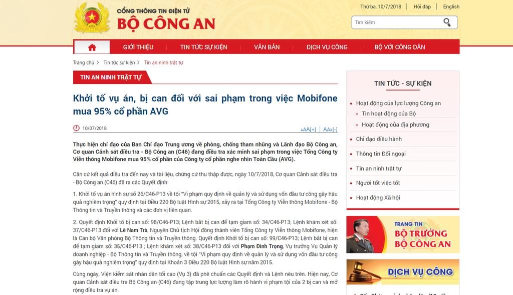 Khởi tố vụ án, bị can đối với sai phạm trong việc Mobifone mua 95% cổ phần AVG