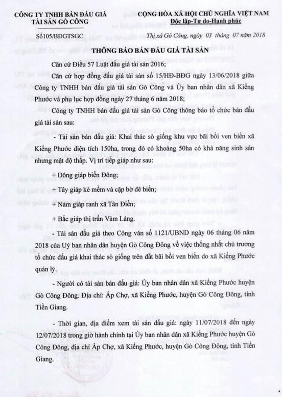 Đấu giá quyền khai thác sò giống tại Tiền Giang - ảnh 1