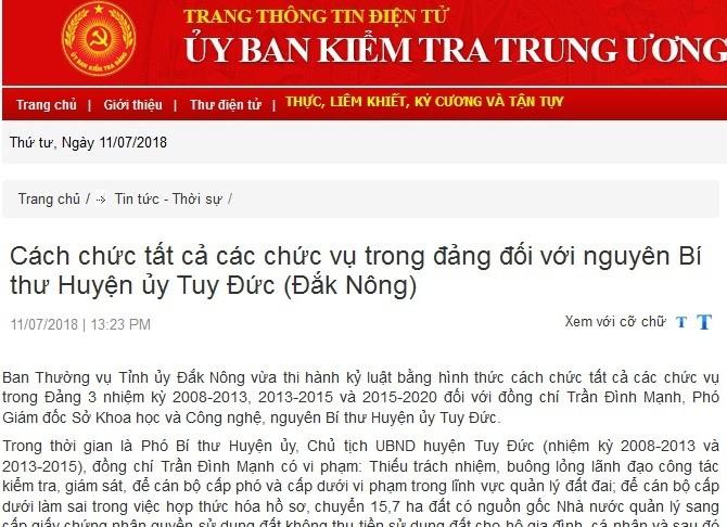 Đắk Nông: Cách chức Phó Giám đốc Sở - nguyên Bí thư Huyện ủy Tuy Đức