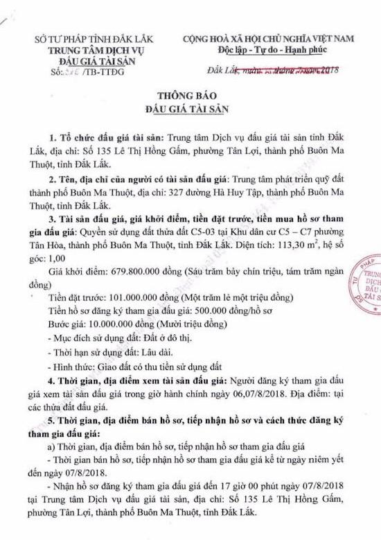 Đấu giá quyền sử dụng đất tại thành phố Buôn Ma Thuột, Đắk Lắk - ảnh 1