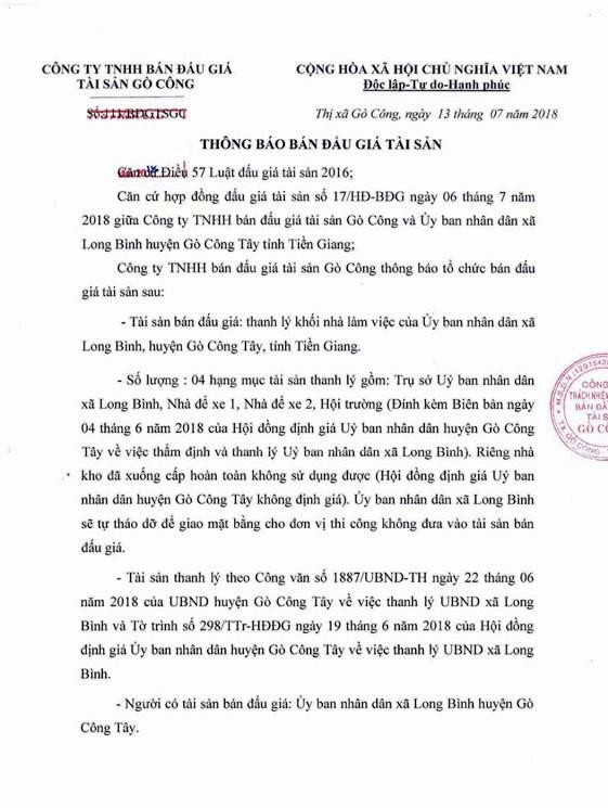 Đấu giá quyền sử dụng đất tại huyện Gò Công, Tiền Giang - ảnh 1