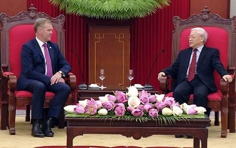 Tổng Bí thư Nguyễn Phú Trọng tiếp ngài Tony Smith - Chủ tịch Hạ viện Australia - Ảnh: VOV