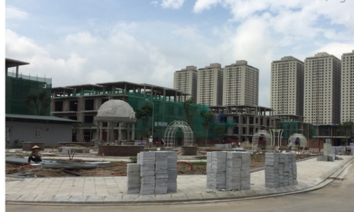 Dự án tại Thanh Trì được quảng cáo có 4 lối vào nhưng hiện mới có một đường lưu thông.