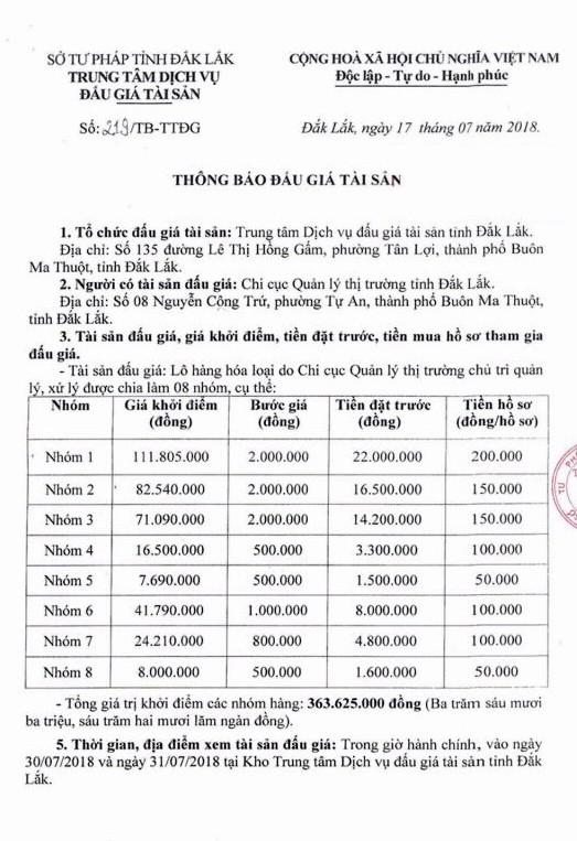Đấu giá lô hàng hóa các loại tại Đắk Lắk - ảnh 1