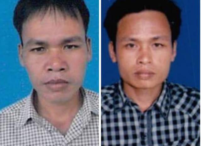 Hai nghi can Quốc (trái) và Việt, là đối tượng chủ mưu vụ phá rừng phòng hộ Nam Sông Bung đã ra đầu thú