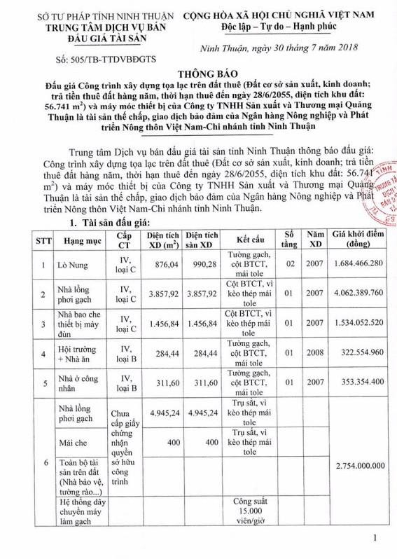 Đấu giá công trình xây dựng và máy móc thiết bị tại Ninh Thuận - ảnh 1
