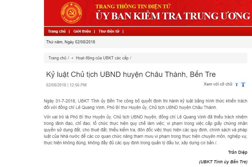 Kỷ luật Chủ tịch UBND huyện Châu Thành, Bến Tre