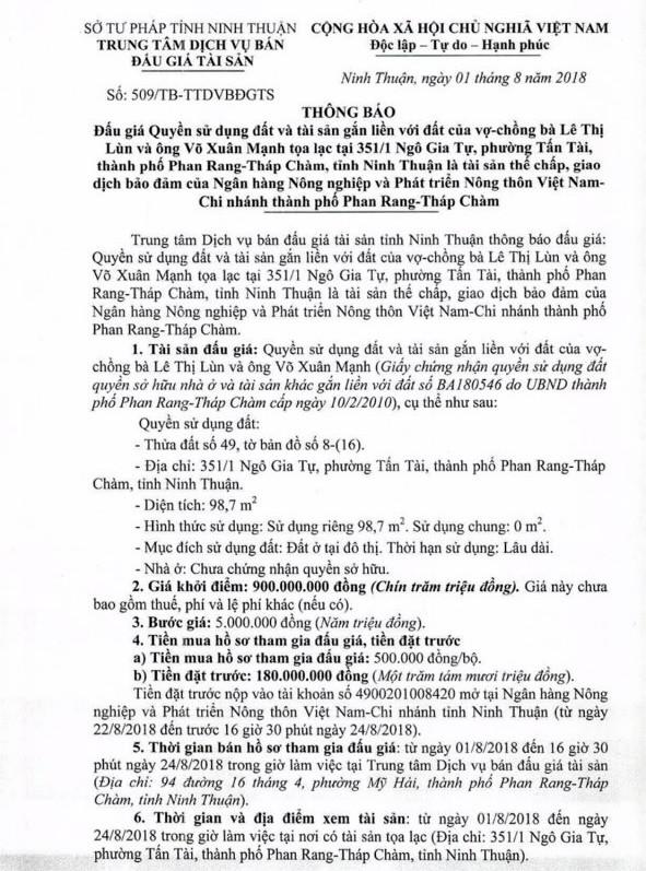 Đấu giá quyền sử dụng đất và tài sản gắn liền với đất tại thành phố Phan Rang – Tháp Chàm, Ninh Thuận - ảnh 1