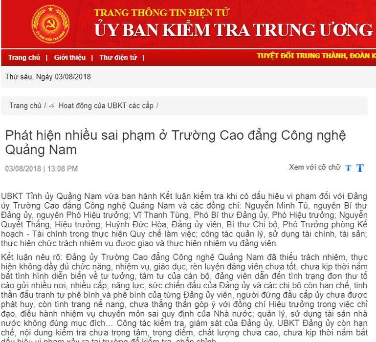 Phát hiện nhiều sai phạm ở Trường Cao đẳng Công nghệ Quảng Nam