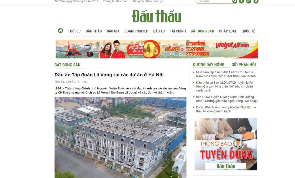 """UBND TP. Hà Nội đã có báo cáo về kết quả kiểm tra phản ánh của báo chí về việc Công ty Lã Vọng và các đơn vị thành viên được ưu ái giao nhiều khu đất """"vàng"""" tại Hà Nội"""