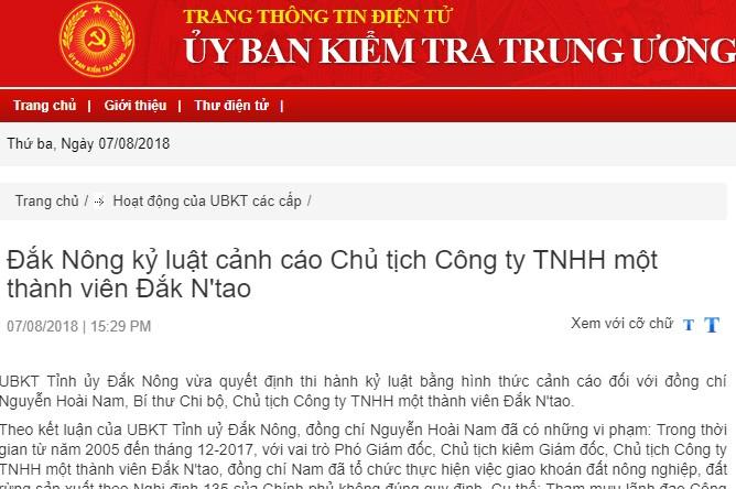 Đắk Nông: Kỷ luật cảnh cáo Chủ tịch Công ty TNHH một thành viên Đắk N'tao