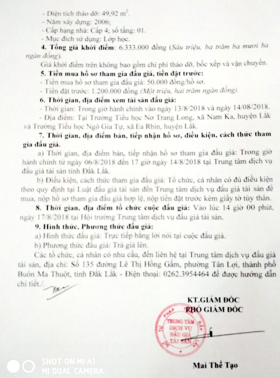 Đấu giá vật liệu thu hồi của trường tiểu học trên địa bàn huyện Lắk, Đắk Lắk - ảnh 2